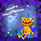 Glückliches Halloween mit Kürbis verlässt auf einem blauen Hintergrund lizenzfreie abbildung