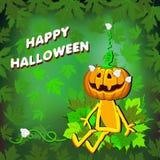 Glückliches Halloween mit Kürbis verlässt auf einem grünen Hintergrund vektor abbildung
