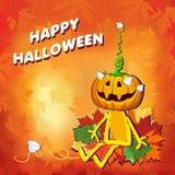 Glückliches Halloween mit Kürbis verlässt auf einem orange Hintergrund lizenzfreie abbildung