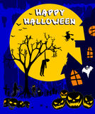 Glückliches Halloween mit Kürbisen auf einem blauen Hintergrund vektor abbildung