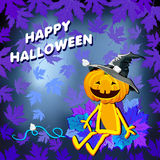 Glückliches Halloween mit Kürbishut in den Blättern auf einem blauen Hintergrund vektor abbildung