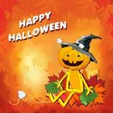 Glückliches Halloween mit Kürbishut in den Blättern auf einem orange Hintergrund lizenzfreie abbildung