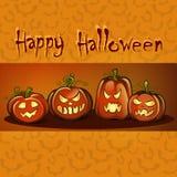 Glückliches Halloween Postkarte, Fahne mit einer Aufschrift, festlicher Hintergrund und thematische Kürbise Lizenzfreie Stockbilder