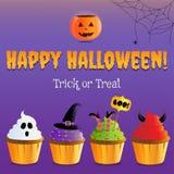 Glückliches Halloween Süßes sonst gibt's Saures mit furchtsamen kleinen Kuchen stock abbildung