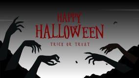Glückliches Halloween Süßes sonst gibt's Saures mit Zombiehandanimation stock abbildung