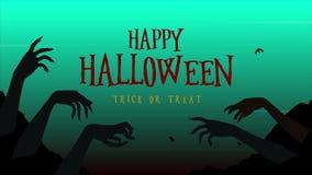 Glückliches Halloween Süßes sonst gibt's Saures mit Zombiehandanimation vektor abbildung