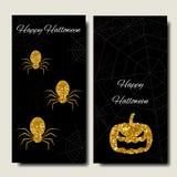 Glückliches Halloween Sammlungsfahnen-Vertikalenhintergrund Stilvolle Auslegung Goldeinzelteile Stockfotos