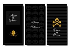 Glückliches Halloween Sammlungsfahnen-Vertikalenhintergrund Stilvolle Auslegung Goldeinzelteile Stockfotografie
