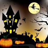 Glückliches Halloween und Kürbis, Hexe, Schläger, Gegenstände in der Mondnacht auf schwarzem Himmel Stockfotos