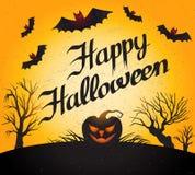 Glückliches Halloween Vektorkarte mit Kürbis Stockfotografie