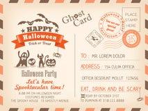 Glückliches Halloween-Weinlese-Postkarteneinladungs-Hintergrunddesign Stockbild