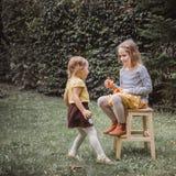Glückliches Halloween Zwei Schwestern spielen mit wenigen Laternen Kürbis Jacks O draußen Weinlesefiltereffekt lizenzfreies stockfoto