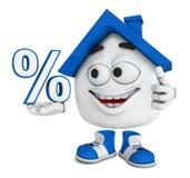 Glückliches Haus mit Prozentsatzzeichen Stockbilder