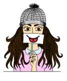 Glückliches Hippie-Mädchen, das Karte mit lustigem smiley auf weißem Hintergrund hält Stockfotos