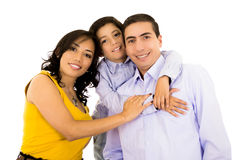 Glückliches hispanisches Familienporträt, das zusammen lächelt Lizenzfreie Stockbilder