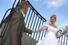 Glückliches Hochzeitslächeln Stockfotos