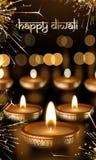 Glückliches indisches Festival Diwali beleuchtet Grußkarten-Vektorgoldkerzenlicht Stockbilder