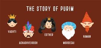 Glückliches jüdisches neues Jahr Purim auf hebräisches und englisch die Geschichte von Purim mit traditionellen Charakteren Fahne vektor abbildung