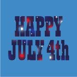 Glückliches am 4. Juli Feuerwerksmuster Stockfoto