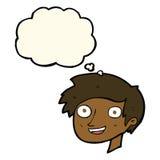 glückliches Jungengesicht der Karikatur mit Gedankenblase Lizenzfreie Stockbilder