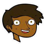 glückliches Jungengesicht der komischen Karikatur Stockbild