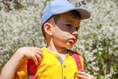 Glückliches Jungenporträt an den Sommerferien Tätigkeiten im Freien, Tourismus stockfoto
