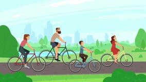 Glückliches junges Familienreiten auf Fahrrädern am Park Eltern- und Kinderfahrfahrräder Sommertätigkeits- und -familienfreizeit stock abbildung