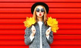 Glückliches kühles Mädchen mit den roten Lippen hält gelbe Ahornblätter Stockfotografie
