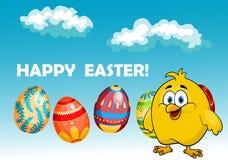 Glückliches Küken in einem Ostern-Kartendesign Lizenzfreies Stockfoto
