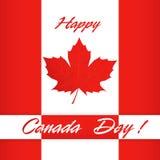 Glückliches Kanada-Tagesplakat Kanada-Flaggenvektorillustrations-Grußkarte Stockfotos