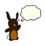 glückliches Kaninchen der Karikatur mit Gedankenblase Stockbild