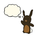 glückliches Kaninchen der Karikatur mit Gedankenblase Lizenzfreie Stockbilder