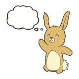 glückliches Kaninchen der Karikatur mit Gedankenblase Lizenzfreie Stockfotos
