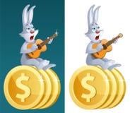 Glückliches Kaninchen mit Gitarre singt über erfolgreiches Geschäft Lizenzfreie Stockfotografie
