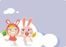 Glückliches Kaninchen und Kind Lizenzfreie Stockfotografie