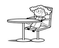 Glückliches Karikatur-Mädchen, das auf Stuhl sitzt Stockfotografie