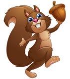 Glückliches Karikatureichhörnchen, das Eichel hält stock abbildung