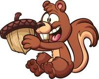 Glückliches Karikatureichhörnchen, das eine große Eichel hält lizenzfreie abbildung