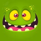 Glückliches Karikaturmonstergesicht Vector Halloween-Illustration des grünen aufgeregten Monsters oder des Zombies stock abbildung