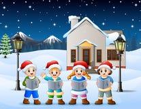 Glückliches Kind, das Sankt-Hut singt im schneienden Dorf trägt vektor abbildung