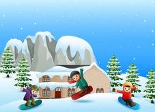 Glückliches Kind, das Snowboard im schneienden Dorf spielt vektor abbildung
