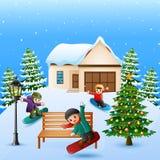 Glückliches Kind, das Snowboard im schneienden Dorf spielt lizenzfreie abbildung
