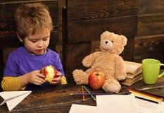 Glückliches Kind, das Spaß hat Entzückender Junge, der köstlichen Apfel isst Kind, das Snack mit Lieblingsspielzeug teilt Schüler stockbild