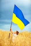 Glückliches Kind, das ukrainische Flagge auf Weizenfeld wellenartig bewegt Lizenzfreie Stockbilder