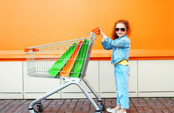 Glückliches Kind des kleinen Mädchens mit Laufkatzenwarenkorb und -Einkaufstaschen Stockfoto