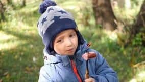 Glückliches Kind isst die geschmackvolle Wurst, die auf einem Grill gekocht wird Familienurlaub mit einem Kind im Freien stock footage