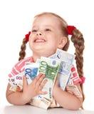 Glückliches Kind mit Geldeuro. Lizenzfreies Stockbild