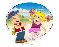 Glückliches Kindertreffen Lizenzfreie Stockbilder