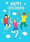 Glückliches Kindheitskarikaturplakat Lizenzfreies Stockbild
