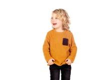 Glückliches kleines blondes Kind-whith gelbes Trikot Lizenzfreies Stockfoto